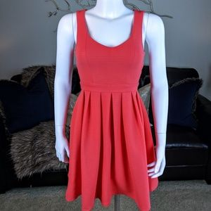 Ya Los Angeles Fit and Flare Dress Coral Red Pink